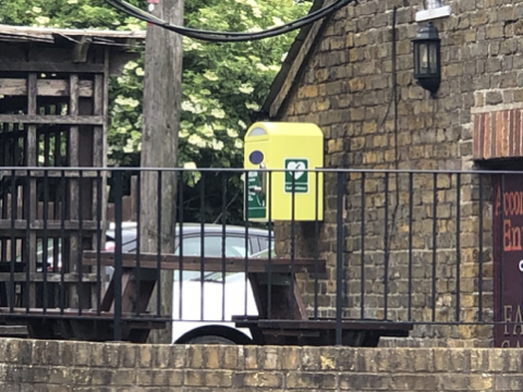 photo of defibrillator at the Rising Sun