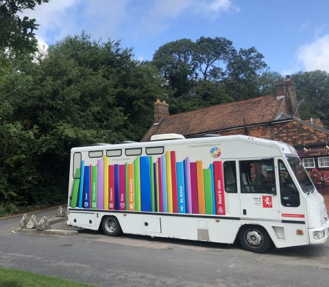 Mobile library parked in Fawkham