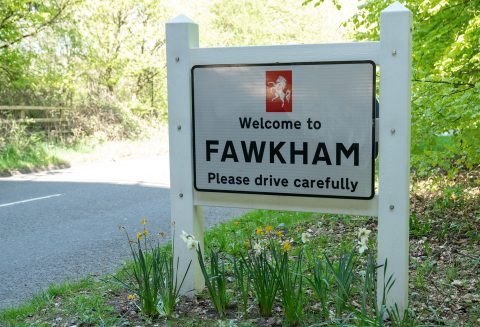 photo showing a welcome to Fawkham sign