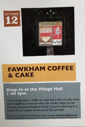 Flyer advertising Fawkham Coffee and cake, including a picture of the village sign
