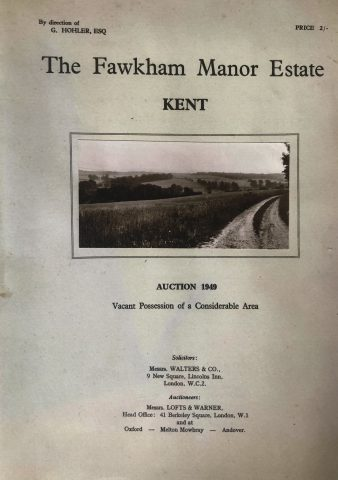Cover of the auction guide to the sale of the Fawkham Manor Estate in 1949