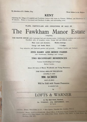old photo of the auction booklet for the Fawkham Manor Estate in 1949