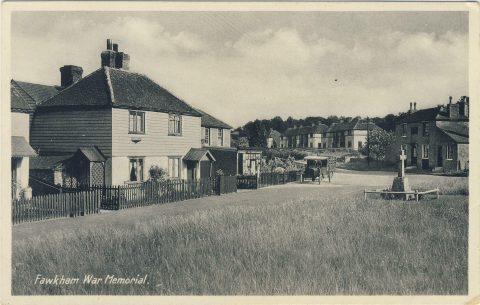 Postcard showing war memorial