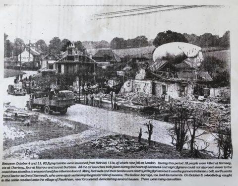 newspaper photo showing crashed doodlebug