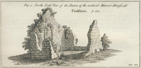 old drawing of Manor House ruins showing two walls