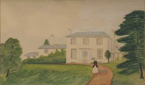 painting showing a White House, large tree and a woman in Victorian dress carrying a parasol