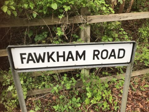 clean road sign saying Fawkham Road
