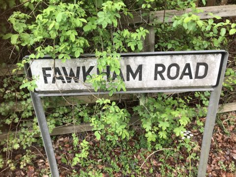road sign Fawkham Road, dirty and covered in brambles
