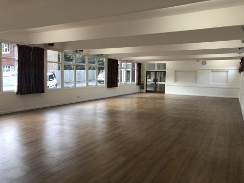 village hall with wood effect floor