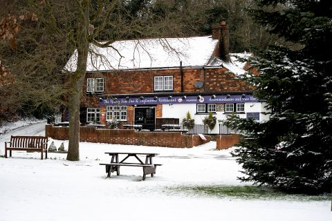 pub in snow
